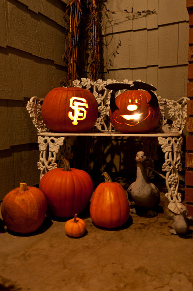 Andy's carved pumpkin's: SF Giants and Mickey Mouse