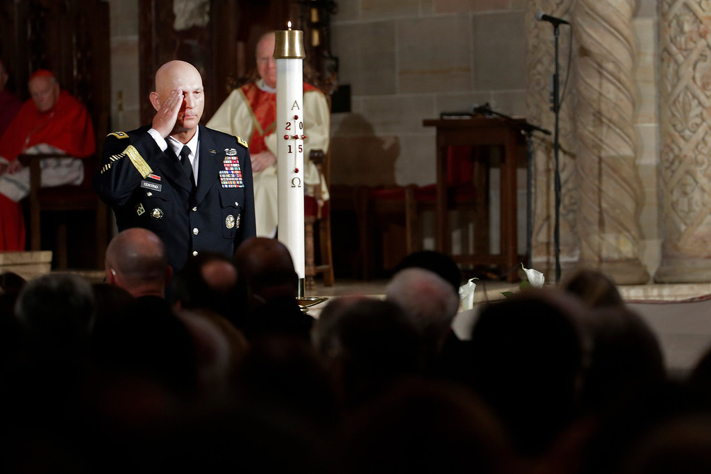 . Army Chief of Staff Gen. Raymond Odierno salutes the casket of former Delaware Attorney General Beau Biden during funeral services, Saturday, June 6, 2015, at St. Anthony of Padua Church in Wilmington, Del. Biden, Vice President Joe Biden\'s eldest son, died at the age of 46 after a battle with brain cancer. (AP Photo/Pablo Martinez Monsivais)