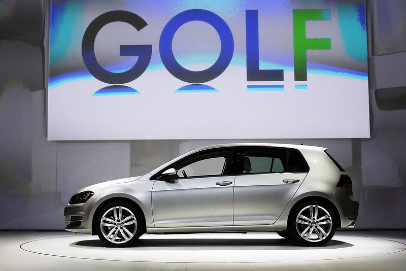 . The new U.S. version of the Volkswagen redesigned Golf is displayed at the 2013 New York International Auto Show on March 27, 2013 in New York City.  The New York Auto Show will open to the public on Friday and run until April 7.  (Photo by Spencer Platt/Getty Images)