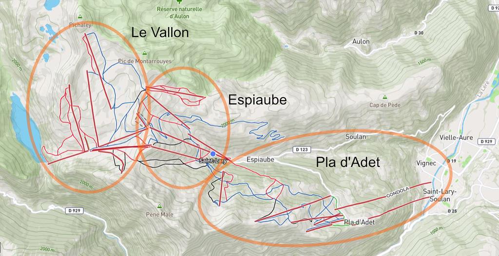 Mapa de sectores de Saint-Lary