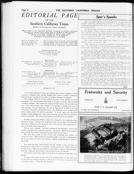 The Southern California Trojan, Vol. 8, No. 55, January 16, 1917