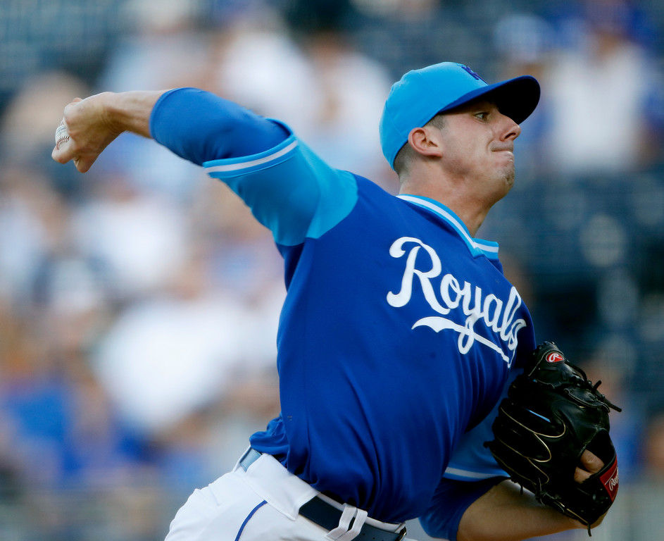 . Kansas City Royals starting pitcher Heath Fillmyer throws during the first inning of the team\'s baseball game against the Cleveland Indians on Saturday, Aug. 25, 2018, in Kansas City, Mo. (AP Photo/Charlie Riedel)