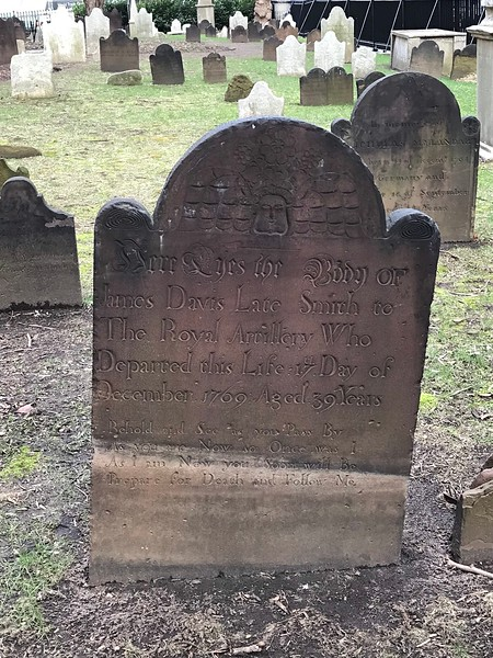 St Paul's Chapel - James Davis: Died 17th December 1769, aged 39 years.