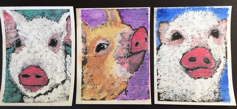 3 piglets in a row, SOLD