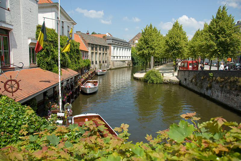 View of the Dijver canal in Burges, Belgium