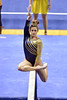 MORGANTOWN, WV - MARCH 8: WVU female gymnast Beth Deal performs on the balance beam during a dual meet March 8, 2015 in Morgantown, WV.