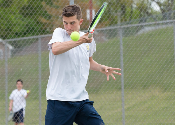 05/09/19 Wesley Bunnell | Staff Newington boys tennis defeated New Britain at New Britain High School on Thursday afternoon.