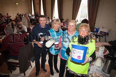Paddy O'Hanlon, Ray Dodds, Cora Trainor and Bernie Ward from Cancer Research held a Coffee morning during World Cancer Day in the Sean Hollywood Arts Centre. R1606002