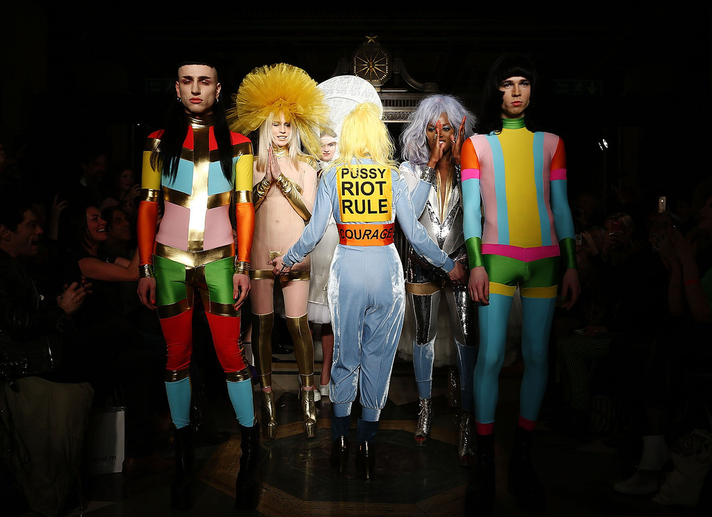 . Models walks the runway at the Pam Hogg show at the Fashion Scout venue during London Fashion Week AW14 at Freemasons Hall on February 14, 2014 in London, England.  (Photo by Tim P. Whitby/Getty Images)