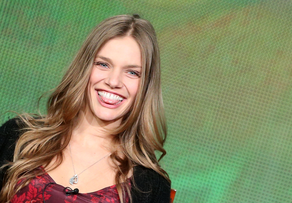 Description of . Actress Tracy Spiridakos speaks onstage at the