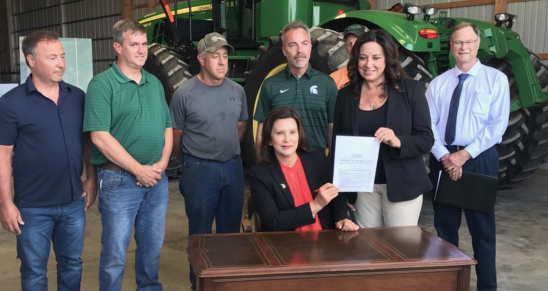 Gov. Gretchen Whitmer signed H.B. 4234 into law at Smuts Farms making $15 million in low-interest loans available for farmers.