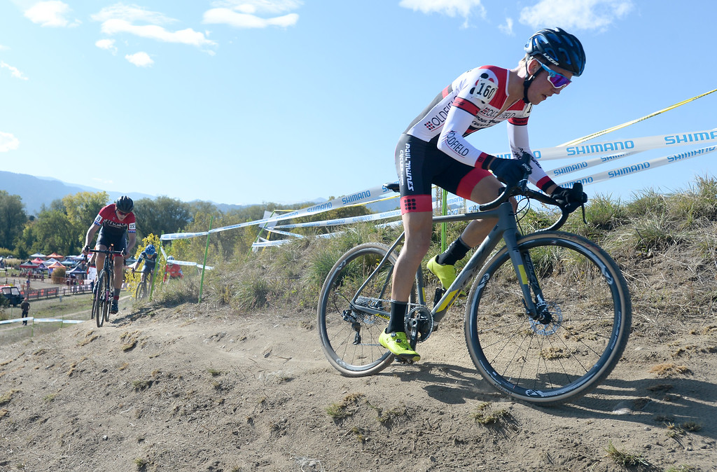. BOULDER, CO - October 13, 2018: Oliver Howson, leads early in the Alfalfa�s Eldora US Open cyclocross championship men\'s junior race at Valmont Bike Park in Boulder.  (Photo by Cliff Grassmick/Staff Photographer)