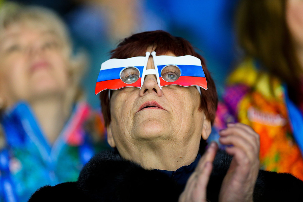 . A spectator during the match between Sweden and Japan at the Shayba Arena in the Ice Hockey tournament at the Sochi 2014 Olympic Games, Sochi, Russia, 09 February 2014  EPA/SRDJAN SUKI