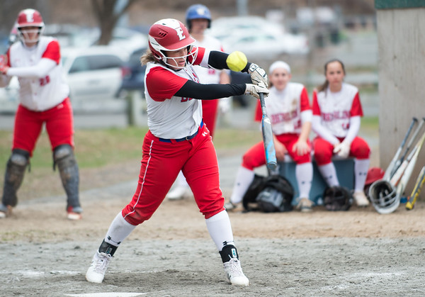 04/12/19 Wesley Bunnell | Staff Berlin softball defeated Platt Tech in an afternoon home game at Sage Park on Friday. Kylie Lanteri (10) at the plate.