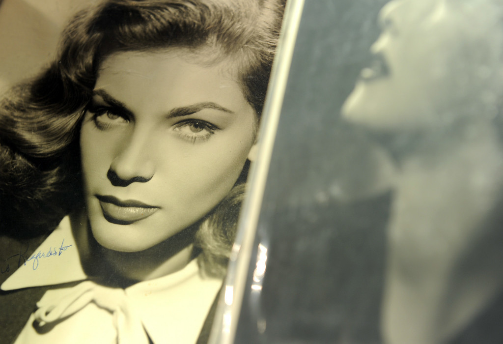 . A photograph signed by Lauren Bacall is seen at Bonhams and Butterfields on April 14, 2011 in Los Angeles, California, during a preview before an auction on April 20. The photograph is estimated USD 800 - USD 1,200.  AFP PHOTO / GABRIEL BOUYS        (Photo credit should read GABRIEL BOUYS/AFP/GettyImages)