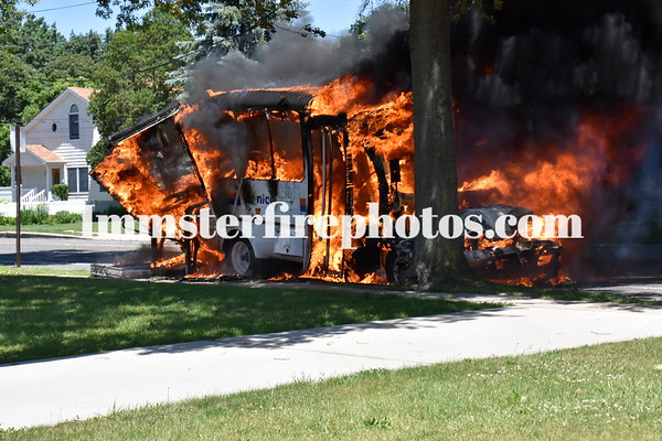 PLAINVIEW FD NICE BUS FIRE 6-9-16