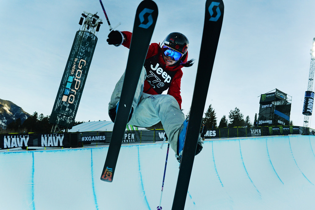 . Roz Groenewoud practice for the Women\'s Ski Super Pipe Finals at the Winter X Games in Aspen, January, 24 2014. The X Games will continue to be in Aspen at Buttermilk Mountain through 2019. (Photo by RJ Sangosti/The Denver Post)