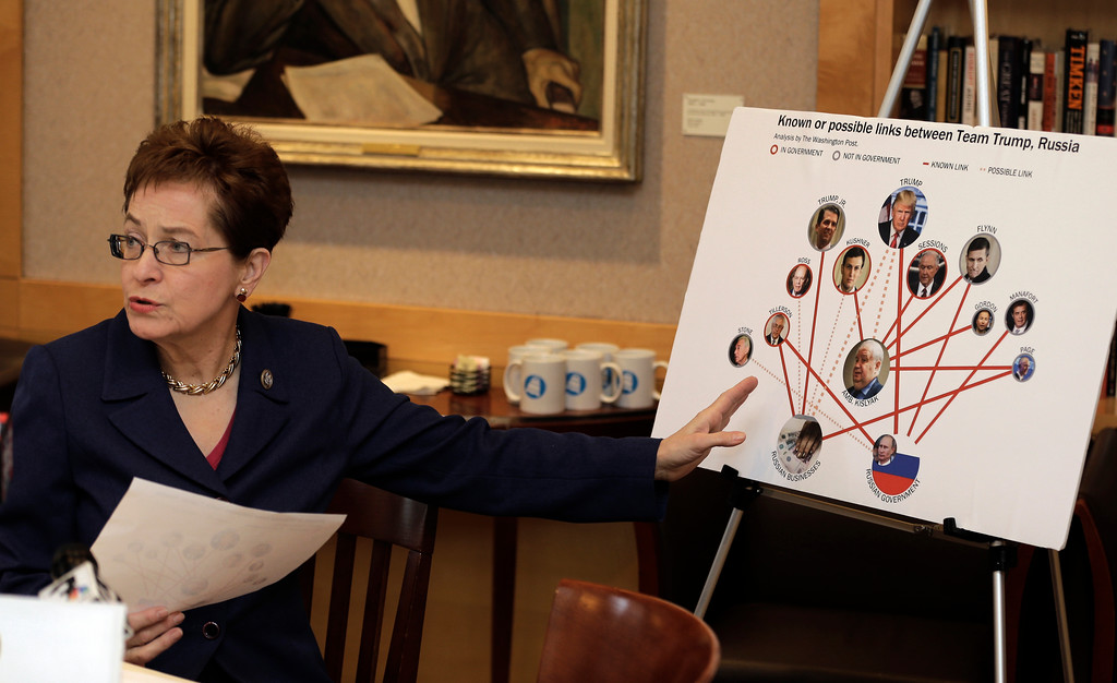 . Rep. Marcy Kaptur, D-Ohio, speaks during a press conference Monday, March 6, 2017 regarding reports that President Donald Trump\'s campaign met with Russian officials last year in Cleveland. Kaptur called for the Cleveland community to bring forth evidence of Russian influence at GOP Convention in Cleveland. (AP Photo/Tony Dejak)