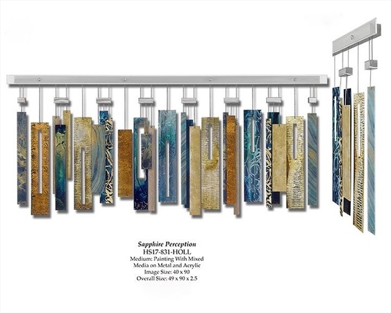 """Sapphire Perception-Hollack, 49""""x90""""'2.5"""" painting with mixed media on metal and acrylic"""