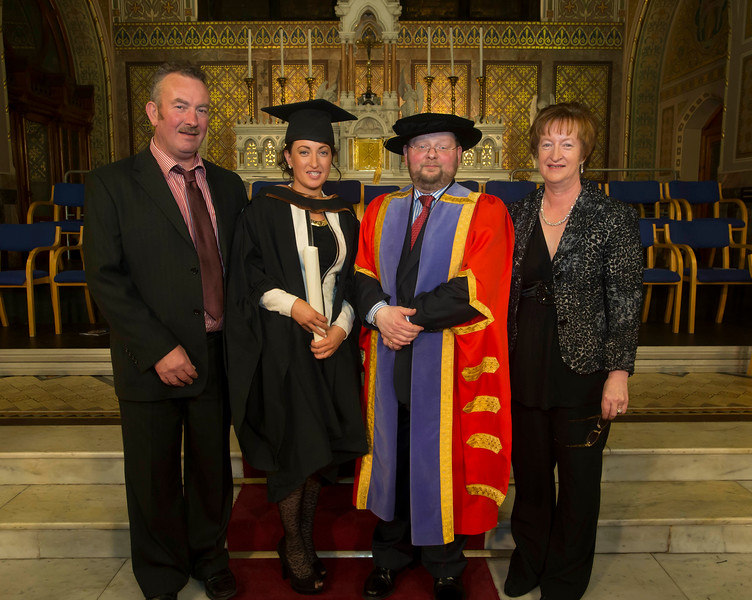 Pictured is Amanda Peters, Cork who graduated Bachelor of Business (Hons). Also pictured is Edmond Peters, Dr. Derek O'Byrne, Registrar of Waterford Institute of Technology (WIT) and Bernadette Peters. Picture: Patrick Browne.