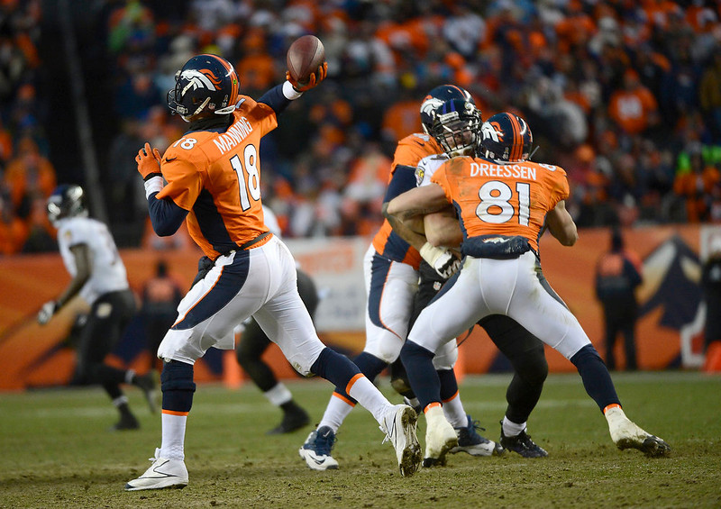 . Denver Broncos quarterback Peyton Manning (18) makes a pass in the third quarter. The Denver Broncos vs Baltimore Ravens AFC Divisional playoff game at Sports Authority Field Saturday January 12, 2013. (Photo by Joe Amon,/The Denver Post)