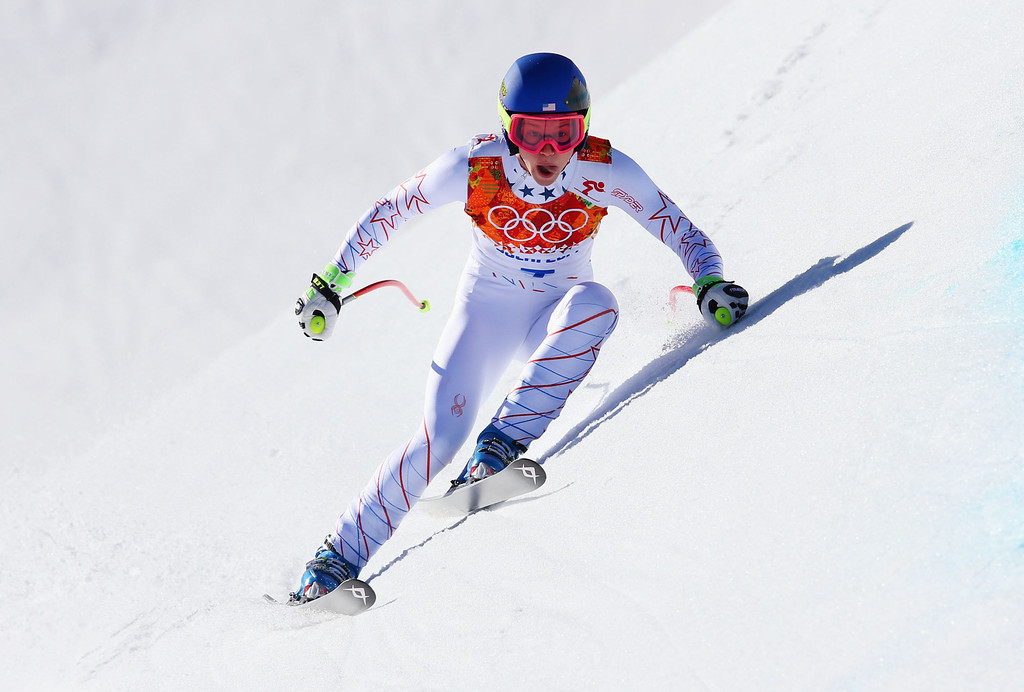 . Laurenne Ross of the United States skis during the Alpine Skiing Women\'s Downhill on day 5 of the Sochi 2014 Winter Olympics at Rosa Khutor Alpine Center on February 12, 2014 in Sochi, Russia.  (Photo by Alexander Hassenstein/Getty Images)