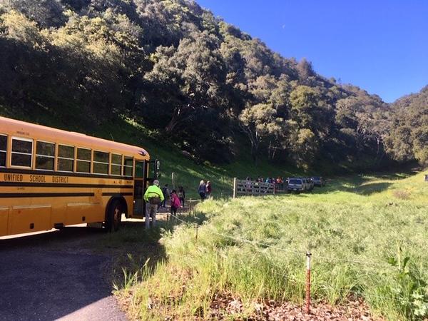 "Ocean View School Oak Ambassadors guide ""Animals through Time"" hike for Mrs. Cecchi's 3rd grade"