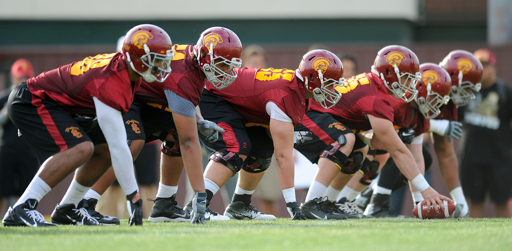 . USC O-line with Toa Lobendahn at center at spring practice, Tuesday, March 11, 2014, at USC. (Photo by Michael Owen Baker/L.A. Daily News)