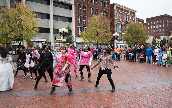 10/31/19 Wesley Bunnell | StaffrrDancers perform to Michael Jackson's Thriller at the beginning of the New Britain Down District Halloween Safe Zone 2019.