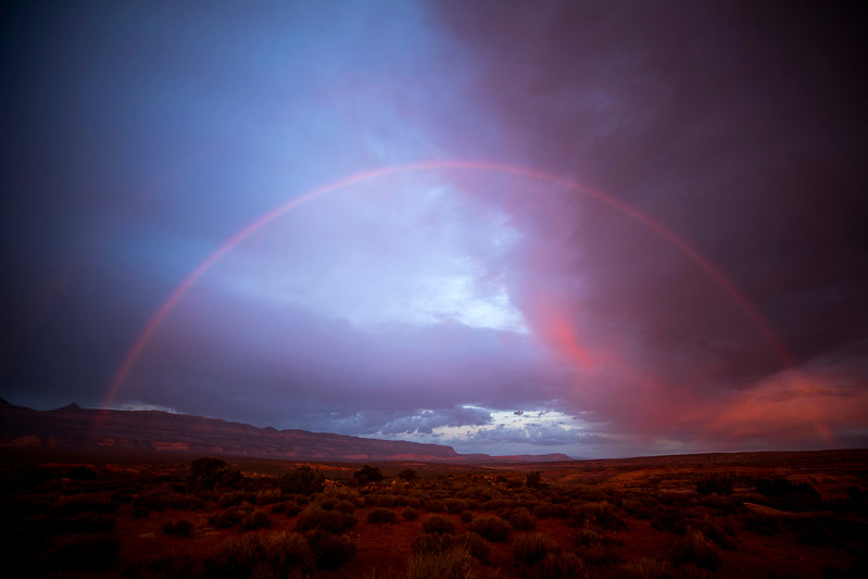A rainbow in the Utah desert.