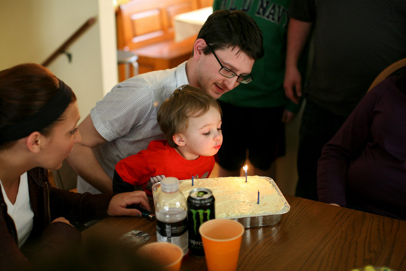 Corey and Hunter Grabiec blow out birthday candles during a birthday party in Oak Forest, Illinois on April 17, 2011.  (Jay Grabiec)