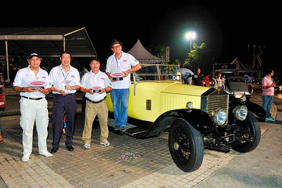 The winning team with a grand old dame of 85, Rolls Royce Connaught Tourer