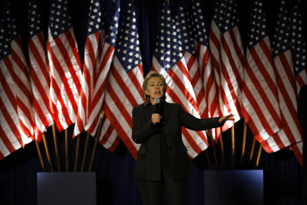 . Democratic presidential hopeful, Sen. Hillary Rodham Clinton, D-N.Y. speaks to supporters during a rally at Union Station Thursday, Dec. 6, 2007, in Washington.(AP Photo/Jose Luis Magana)