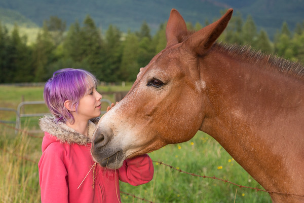 Girl with Purple Hair and Mule