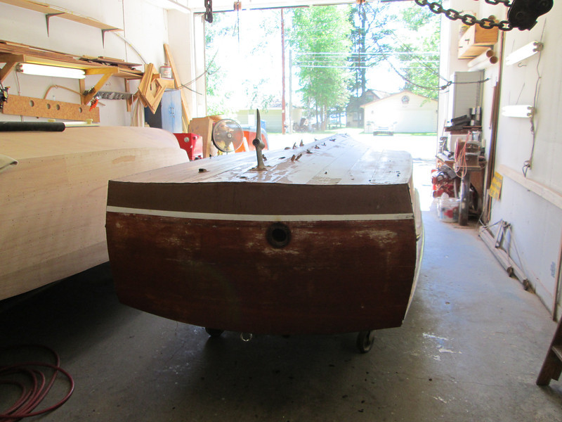 Transom view of the boat up side down.