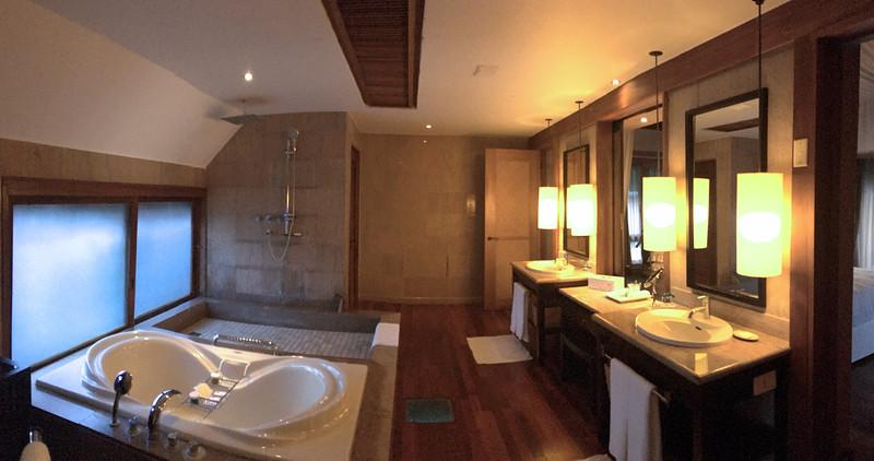 Bathroom in the over water bungalow at the St. Regis Resort - Bora Bora