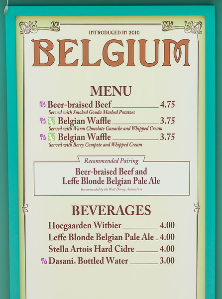 Belgium Menu - Epcot Food & Wine Festival 2016