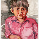 Portrait - Edward (red shirt); acrylic on paper, 22 x 30 in, 1995
