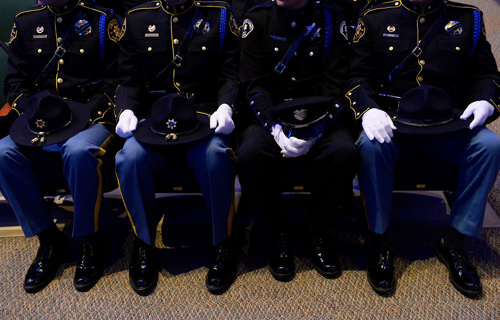 """. ARVADA, CO - MARCH 14: Police and sheriff deputies from as far all over the state came to the memorial service for Park County Deputy Corporal Nathaniel \""""Nate\"""" Carrigan at Faith Bible Chapel on March 14, 2016 in Arvada, Colorado. Carrigan was killed in the line of duty while serving a warrant in Bailey, Colorado on February 24, 2016. (Photo by Helen H. Richardson/The Denver Post)"""