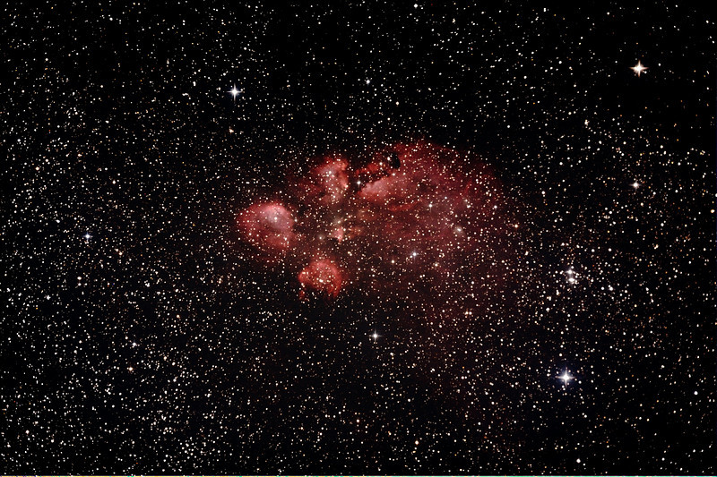 NGC6334 - Gum 64 - Cat's Paw or Bear Claw Nebula in Scorpius - 3/8/2013 (Re-processed cropped stack)