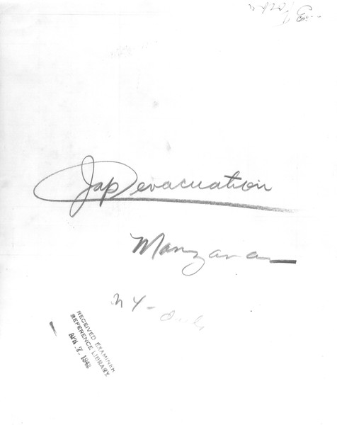 """Jap evacuation Manzanar""--caption on photograph"