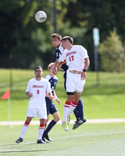 POUGHKEEPSIE, NY - SEPTEMBER 23: Josh Faga #17 heads ball during Yale verses Marist Soccer on September 23, 2012 at Tenney Stadium in Poughkeepsie New York.  Yale defeats Marist 2-1. (Photo by Sandy Tambone)