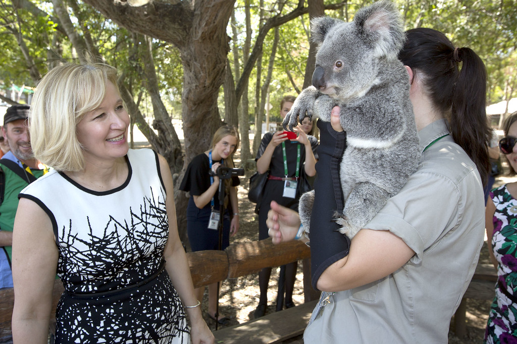 . BRISBANE, AUSTRALIA - NOVEMBER 15:  Mrs Laureen Harper of Canada with a koala at the Lone Pine Koala Sanctuary, as part of the G20 Leaders\' Spouse programme on November 15, 2014 in Brisbane, Australia. World leaders have gathered in Brisbane for the annual G20 Summit and are expected to discuss economic growth, free trade and climate change as well as pressing issues including the situation in Ukraine and the Ebola crisis.  (Photo by Penny Bradfield/G20 Australia via Getty Images)
