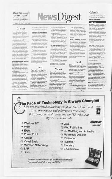 Daily Trojan, Vol. 141, No. 2, August 29, 2000