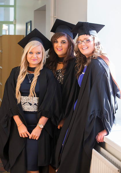 06/01/2015. FREE TO USE IMAGE. WIT (Waterford Institute of Technology) Conferring, Pictured are Nicola Christe, Kildare, who graduated BA Science (Hons)  Retail Management, Karen Habberlin, Mullinavat, Co Kilkenny and Sophie Murphy Enniscorthy, Co. Wexford who graduated BA (Hons) in Marketing. Picture: Patrick Browne