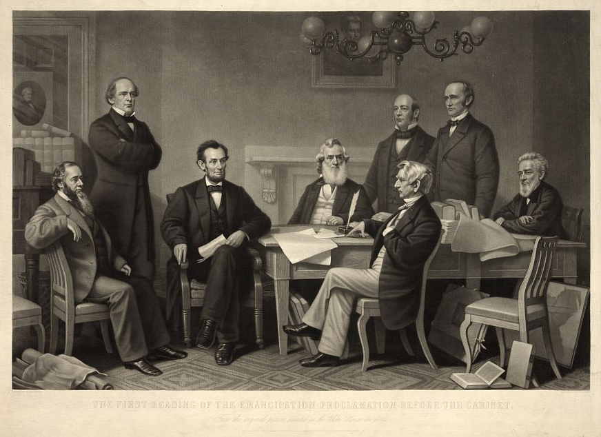 . Print shows a reenactment of Abraham Lincoln signing the Emancipation Proclamation on July 22, 1862, painted by Francis B. Carpenter at the White House in 1864. Depicted, from left to right are: Edwin M. Stanton, Secretary of War, Salmon P. Chase, Secretary of the Treasury, President Lincoln, Gideon Welles, Secretary of the Navy, Caleb B. Smith, Secretary of the Interior, William H. Seward, Secretary of State, Montgomery Blair, Postmaster General, and Edward Bates, Attorney General. Simon Cameron and Andrew Jackson are featured as paintings. Ritchie, Alexander Hay, engraver.  Library of Congress