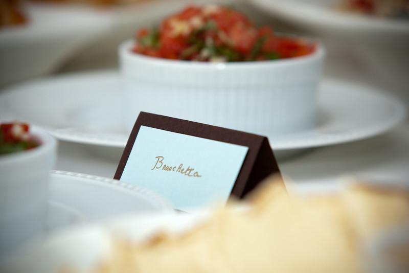 Valerie's handwritten cards identify each dish