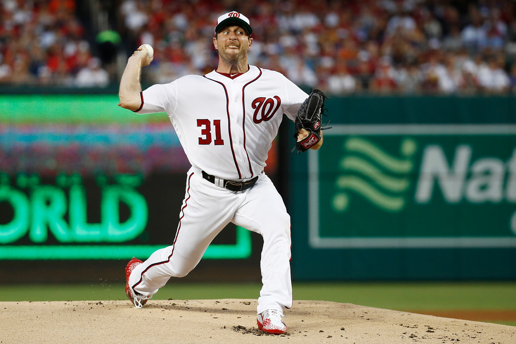 . Washington Nationals pitcher Max Scherzer (31) throws in the first inning during the Major League Baseball All-star Game, Tuesday, July 17, 2018 in Washington. (AP Photo/Patrick Semansky)