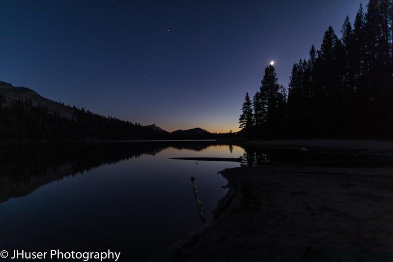 Moon rise after sunset over Lake Tenaya