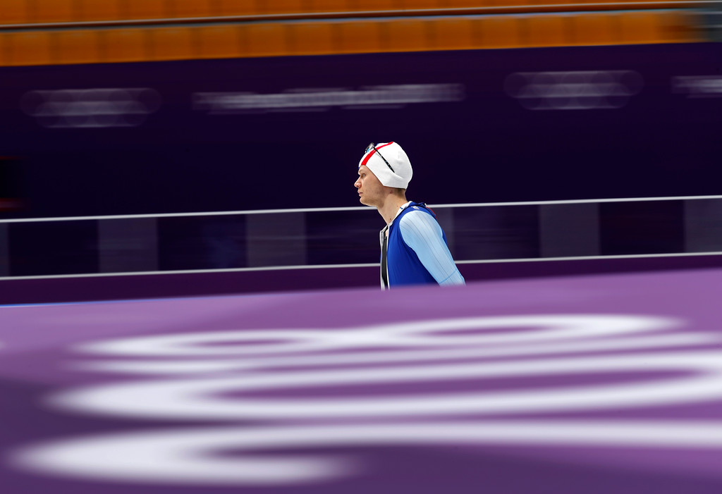 . Havard Lorentzen of Norway practices for the men\'s 1,000 meters speedskating race at the Gangneung Oval at the 2018 Winter Olympics in Gangneung, South Korea, Thursday, Feb. 22, 2018. (AP Photo/John Locher)